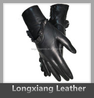 Women's Glorious Design Party Dress Fine Leather Gloves with Falbala