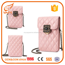 Custom Mobile Phone Carry Bag Chain Branded Genuine Leather Wallets For Girls