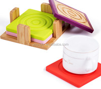 Recycled Bamboo Coaster With Silicone 4 pieces set