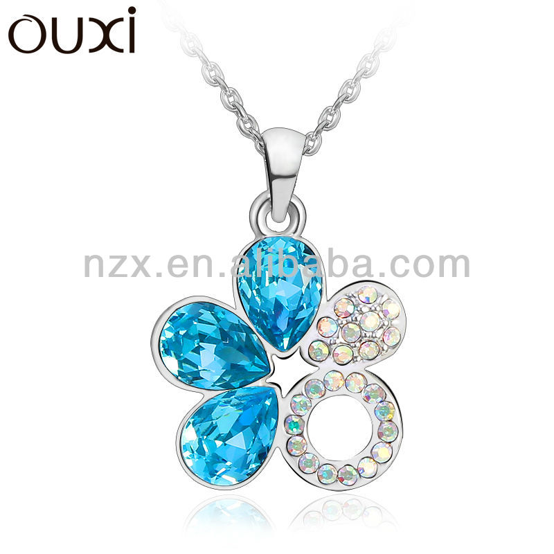 OUXI best selling products fashion style chain wide blue alloy necklace 10742