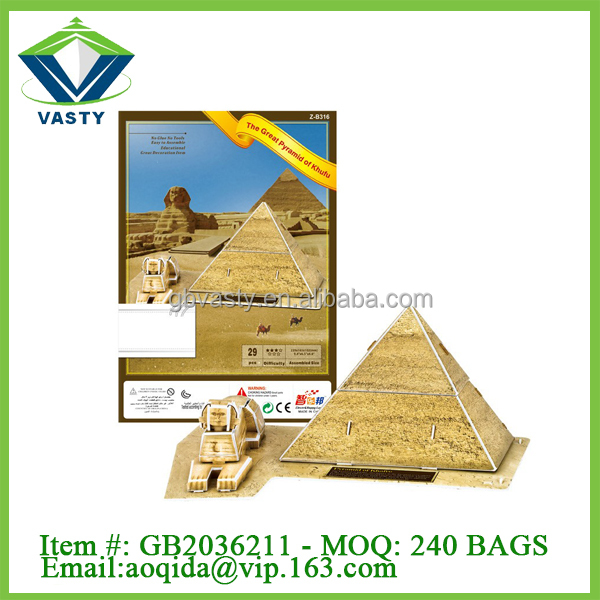 29 pcs plastic Great Pyramid of Khufu building 3d puzzle game kids