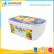 2L Rectangular IML Plastic Ice Cream Containers,Ice Cream Packaging Design,3 Gallon Ice Cream Containers.