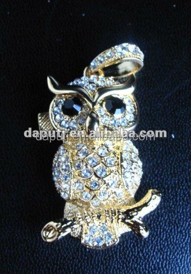 Full Capacity Jewelry Crystal Gold/Silver Diamond owl USB-2.0 Flash Memory-Pen-Drive