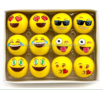 Yellow EMOJI Novelty Golf Balls Kissy Face Emoticons Game Gift