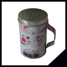 Cylindrical Storage Tin Box With Handle