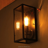Loft American popular antique country style pandora glass box wrought black iron industrial vintage wall lamp
