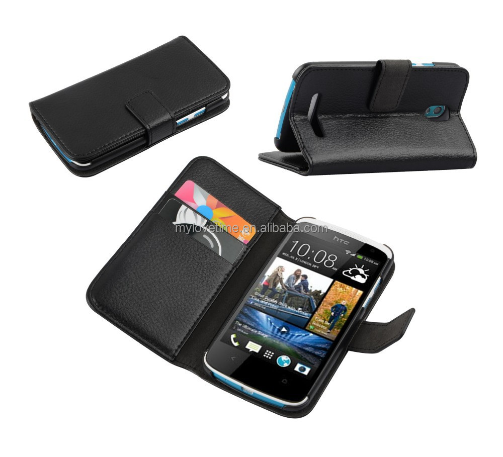 ultral-thin smart leather cover case with magnetic closure for HTC 500