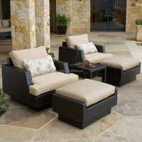 Modern elegant outdoor leisure rattan bar lounge with ottoman footrest widely used hotel pool furniture