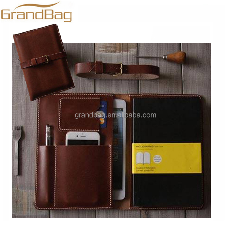 A5 Handmade Genuine Leather Notebooks cover for iPad Mini Case With Integrated iPhone Case Card Holder and pen case