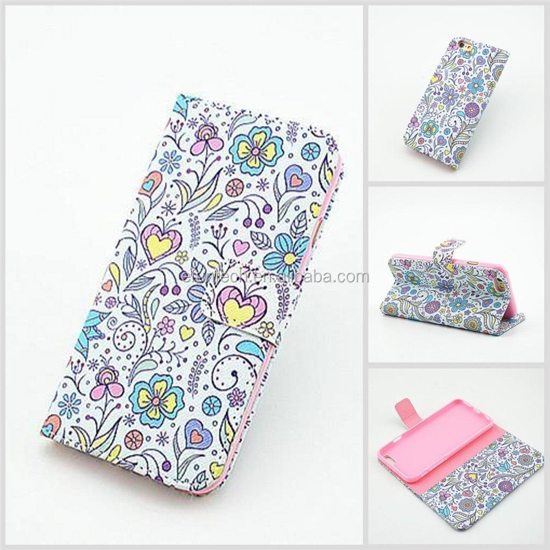 Mobile phone accessory girls use lovely image PU leather wallet flip phone cover For iphone SE 5S 5