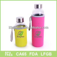 Small order Fabric cloth sleeve glass water bottle