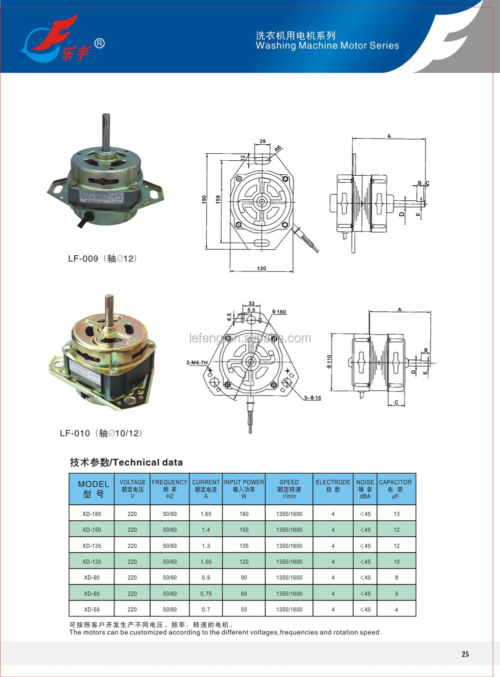 XD washing motor 120W 150W 180W 220W