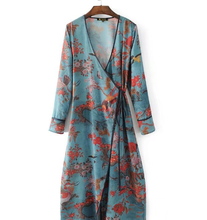 Z90780B 2017 Latest European high quality fashion floral printing kimono style dress for sexy fat ladies