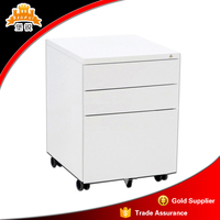 Portable 3 Drawer Mobile Cabinet / Mobile Pedestal / Steel Storage Cabinet