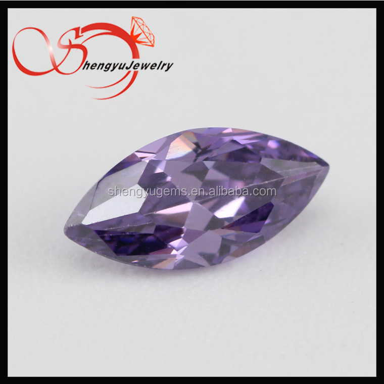 loose stone marquise AAAAA grade Machine Cut Amethyst Color loose cz stone
