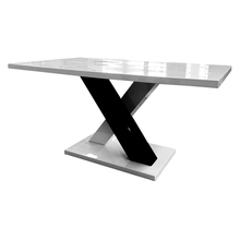 modern X shape wooden dining table and chairs designs