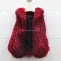 QC9440-2 2015 new china factory natural red raccoon dog fur vest