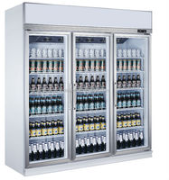 Large capacity beer cooler 3 doors upright glass display showcase