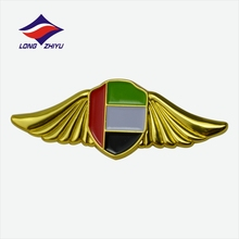Specialize custom gold plating double butterfly UAE flag badge