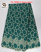 Elegant african organza lace fabric of OL10005-2 deep green