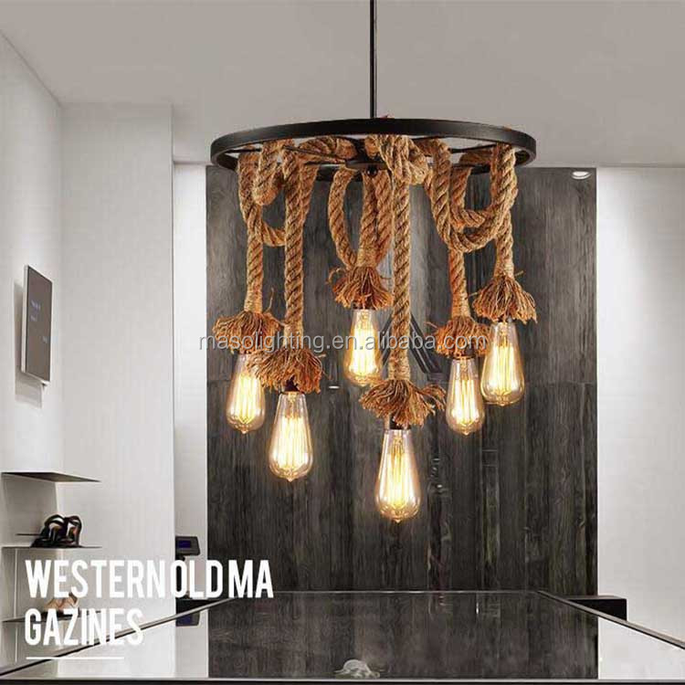 Antique Finish American Farmhouse Retro Hemp Rope Chandelier Pendant Lamp Industrial stylish Decoration Warm Model Project Light