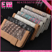 Braided Lines Cover Leather Case For iPhone 6S/6S Plus, For Samsung S7/S7 Edge PU Wallet Case