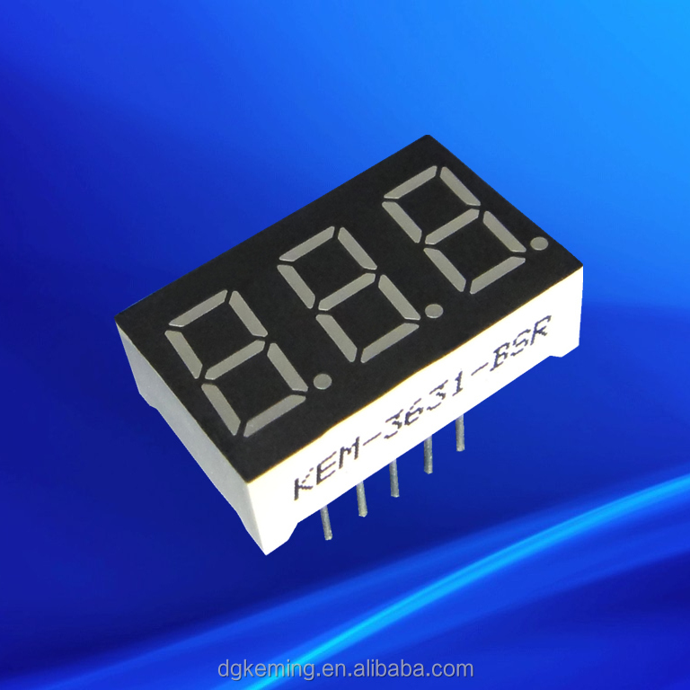 common anode +blue 0.36 inch 3 digit led +7-segment displays