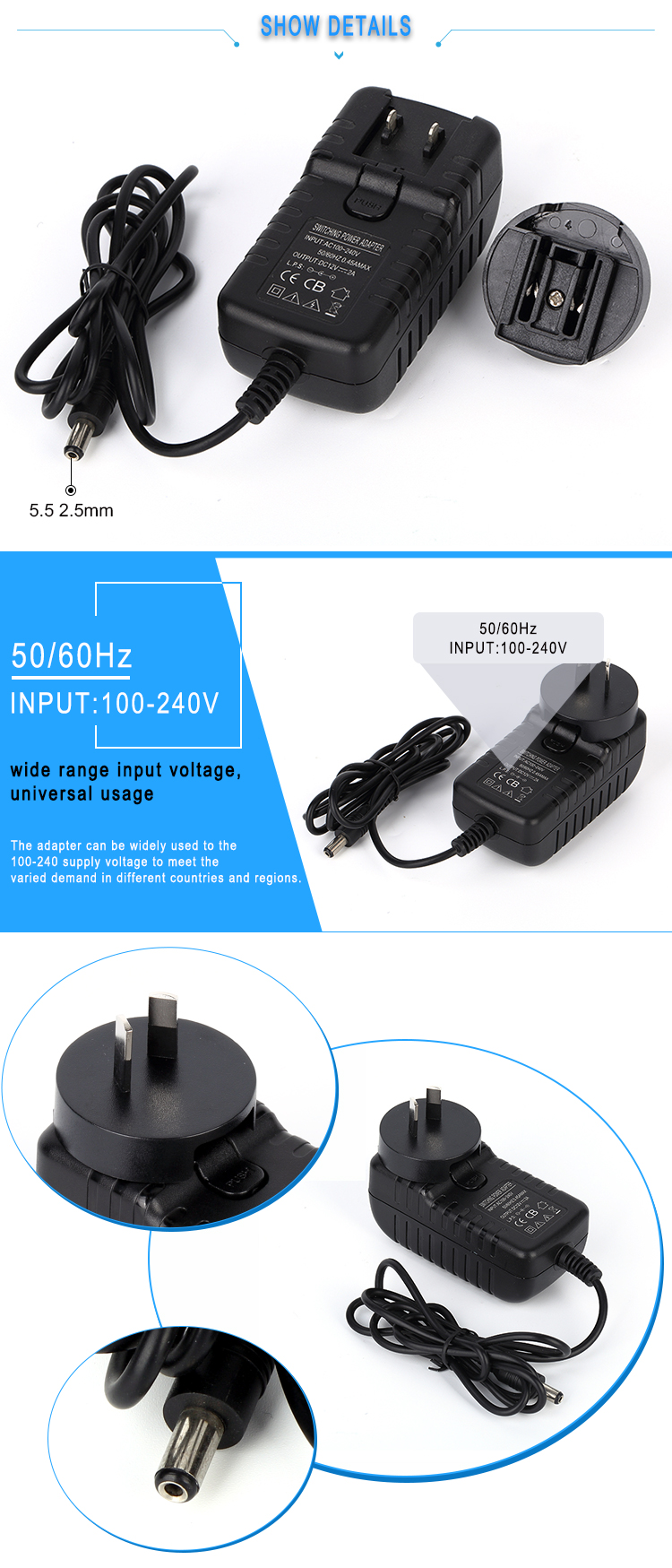 PC-050020 5V 2A wall power adapter 5V 10W interchangetable plug power adapter