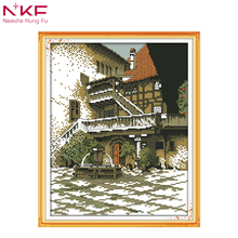 NKF New Arrival Old building Cross Stitch Embroidery Kit paintings Needlework Wall Home Decor DIY Handmade Craft