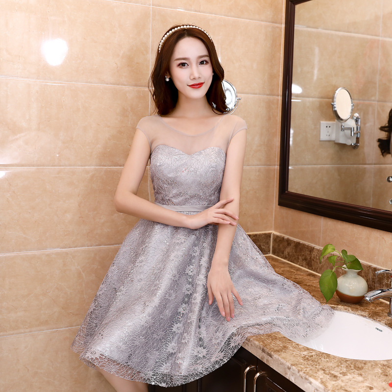 JS 24 Factory Cheap Price Top Quality Wedding Gowns Silver Grey Discount Bridesmaid Party Dress 007