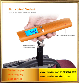 Newly 50kg digital luggage scale with 2600mAh Battery Charger Power bank and LED flashlight with Blue LED backlight