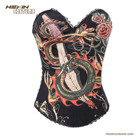 No MOQ Limit Black Women Dragon Pattern Abdominal Binder Corset
