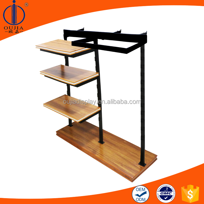 latest simple style wrought iron clothes hanging stand for name clothing store