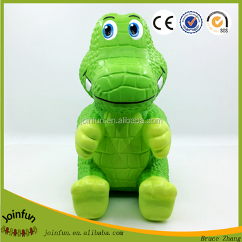 custom design christmas Dinosaur Coin Piggy Money Bank Figure, 10'' plastic Dinosaur Coin Money Bank
