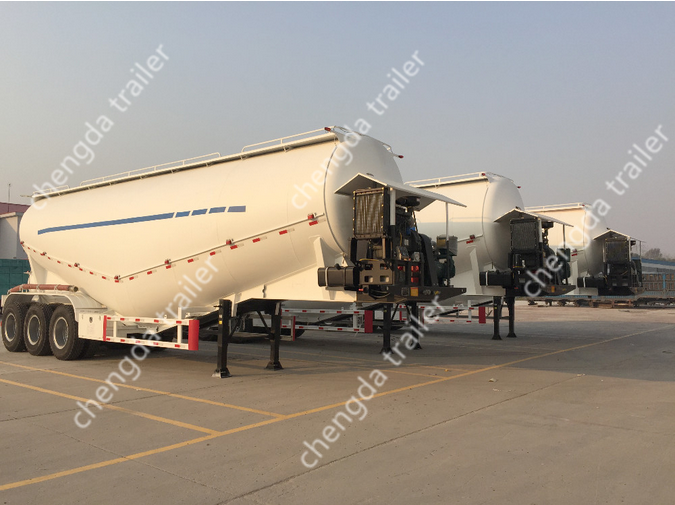 3 Axles 50ton Feed Cement Bulker Tank Bulk Cement Semi Trailer For Sale