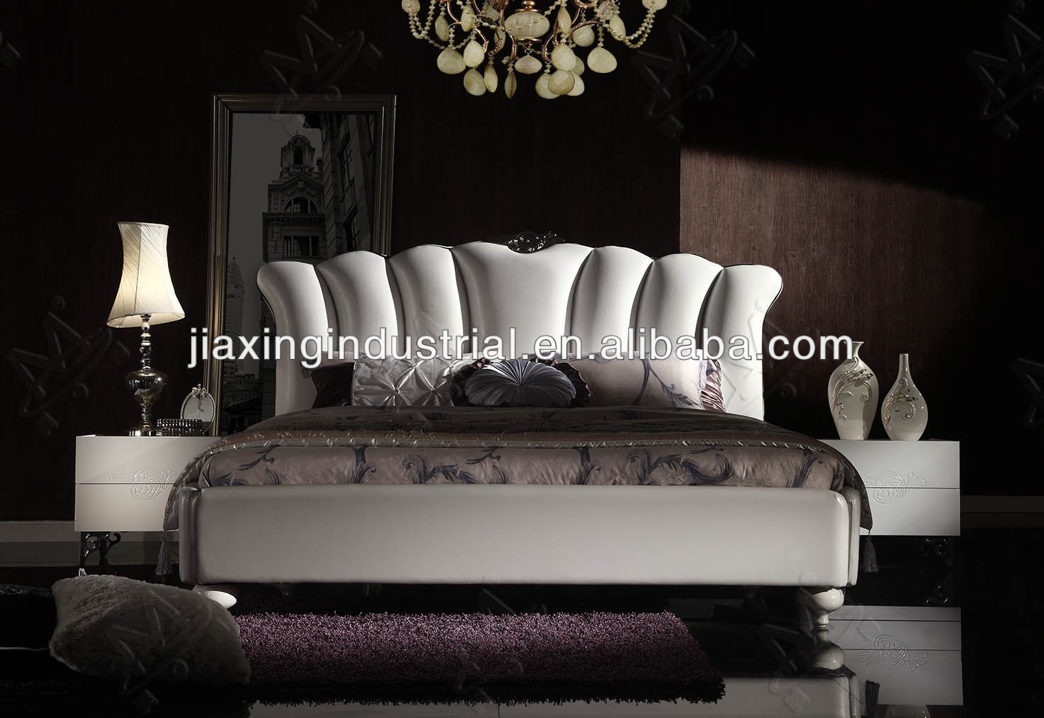 luxury latest modern design bed in 2014 / newest modern leather bed H1295