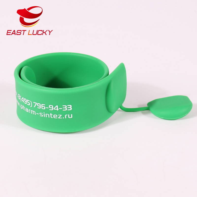 Cheap custom design silkscreen silicone rubber slap bracelet wristband with usb