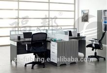 F shaped three seats unique 4 way office partition with steel leg frame