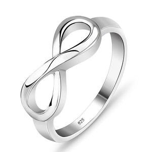 925 Silver Plated Ring High Polish Infinity 8 Wedding Band Ring