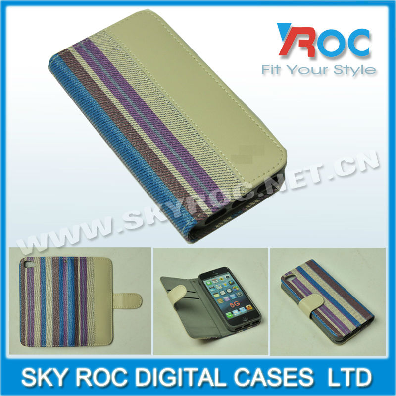 New tpu leather folding wallet case for iphone 5 5g with 2 card slots