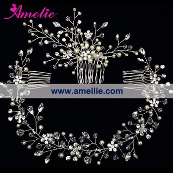 Baby's Breath Crystal Hair Vines and Hair Comb Set