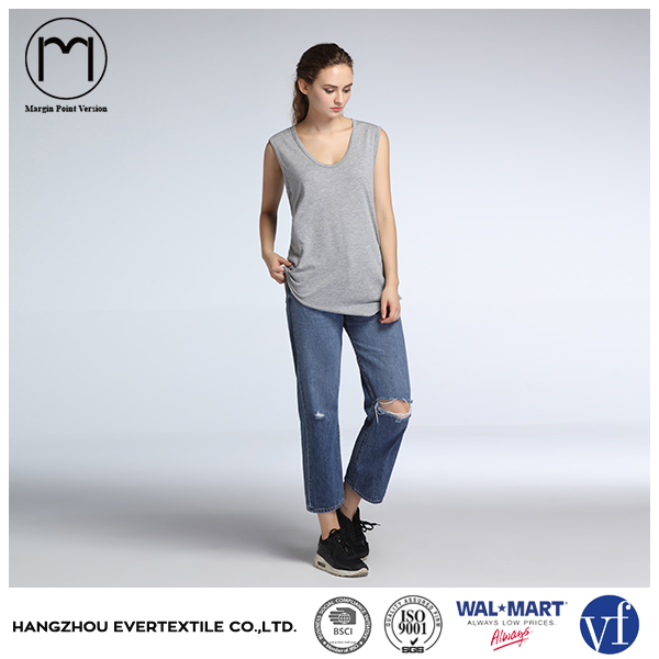 2017 factory ladies clothing bulk plain gray solid loose cotton women t shirt