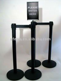 top quality retractable belt barrier post with A4 sign holder