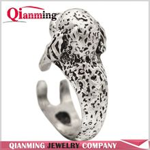 Brass Silver Black Detailed Toy Poodle Rings Shaped Animal Wrap Ring