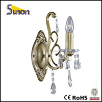 SB1051-1 European style wrought Iron antique brass color crystal wall lamp/indoor lamp