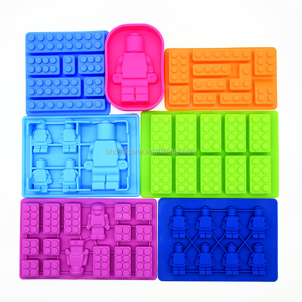 2016 new premium Building Bricks and Minifigure silicone Mold Chocolate Candy Jelly Soap Mold
