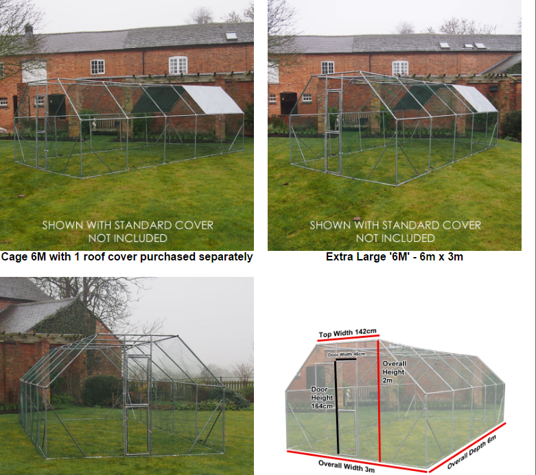 3x2m metal frame poultry chicken coop pet animal pen enclosure walk in run with roof