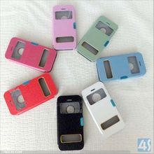seven kinds pure color flip leather case with window for iphone 5