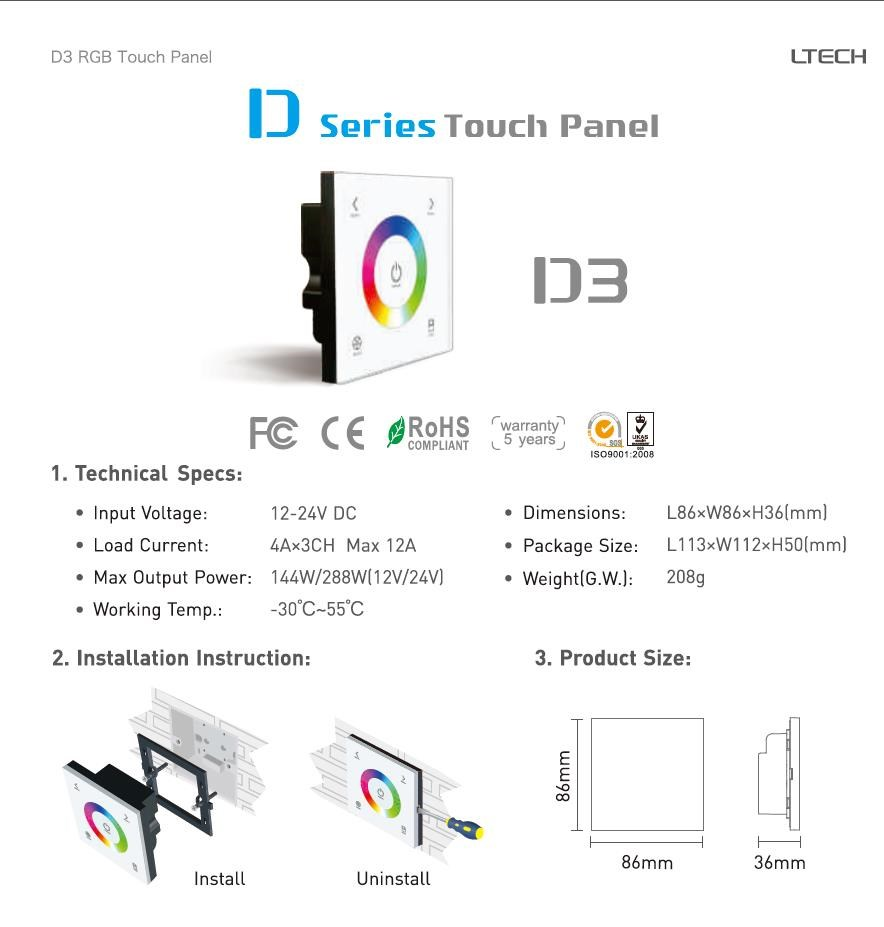 wall mounted touch panel RGB controller with faster reaction