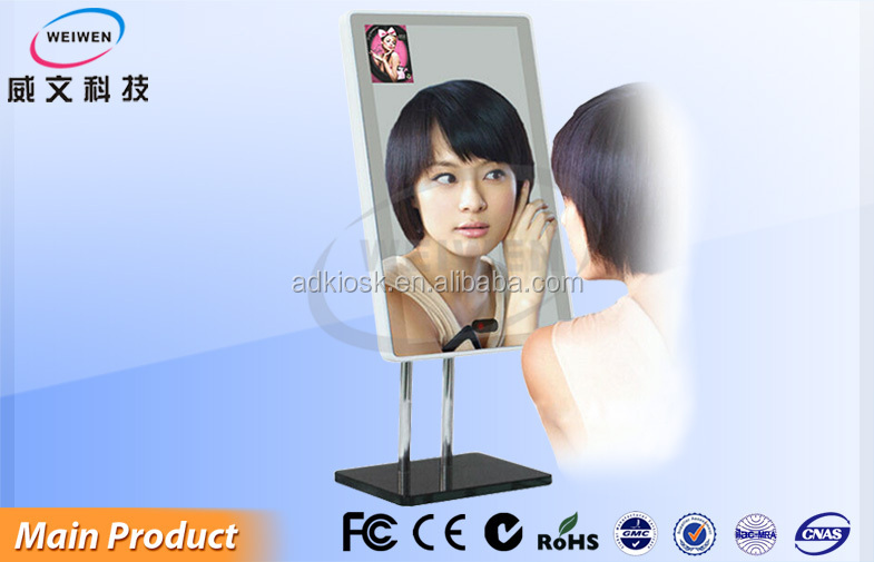 32inch wall mounted led screen mirror hd advertiisng tv display with sensor cheap price